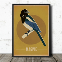 Magpie Birds Vintage Retro Style Nature Poster Print