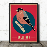 Bullfinch Birds Vintage Retro Style Nature Poster Print