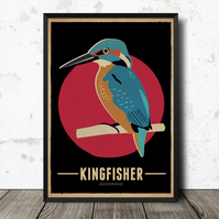 Kingfisher Birds Vintage Retro Style Nature Poster Print