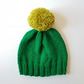 Bobble Hat in Emerald Green Chunky Yarn with Lime Green Pom Pom