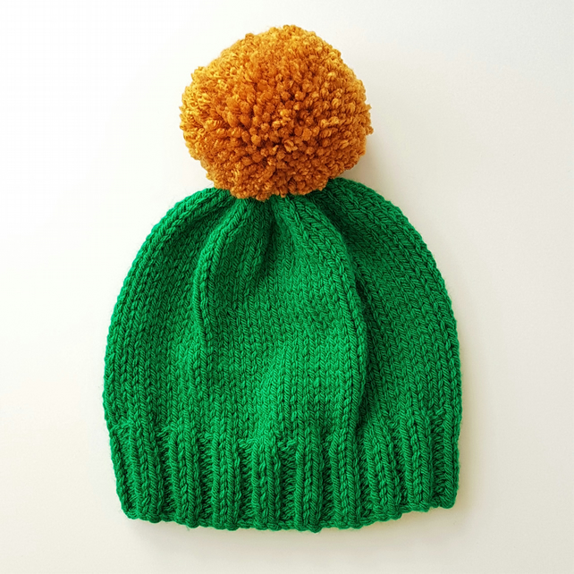 Bobble Hat in Emerald Green Chunky Yarn with Mustard Pom Pom