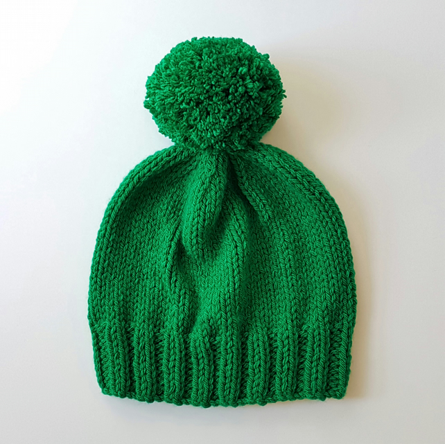 Bobble Hat in Emerald Green Chunky Yarn