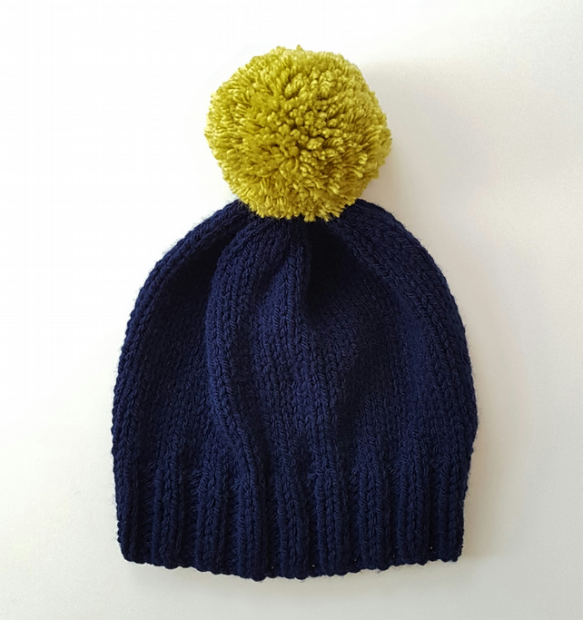 Bobble Hat in Navy Blue Chunky Yarn with Lime Green Pom Pom