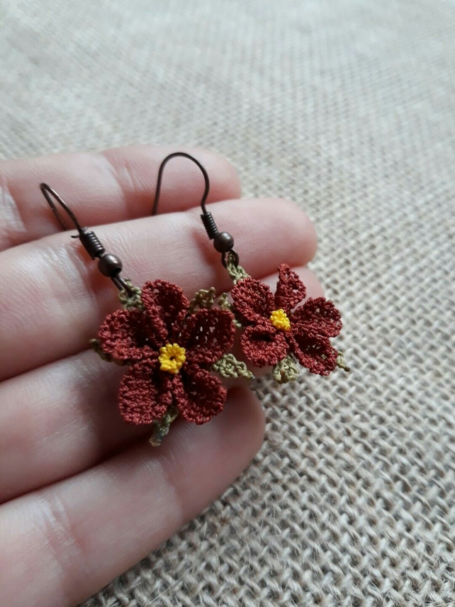 Handmade, Turkish Needle Lace 'Oya' Wildflower Hook Earrings 14