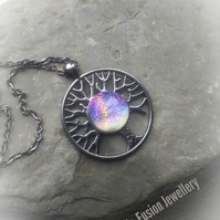 Thru The Veil Tree of Life Dichroic Glass Necklace