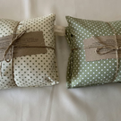 Heat pad wheat bag in spotted green cotton fabric option lavender mix