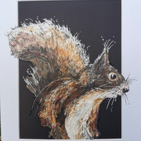 Nosy animals The Squirrel, mixed media art work, unique. Red squirrel.