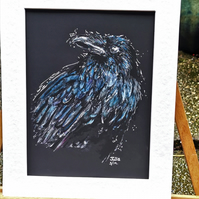 Handsome Raven original art work, print with mount 10 x 8 inch no.2 corvid crow