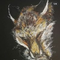 The Fox. Mixed media art, original print with mount, 9 x 12 inches