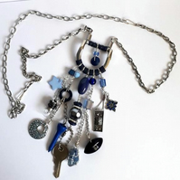 Upcycled Buckle Necklace-Blue