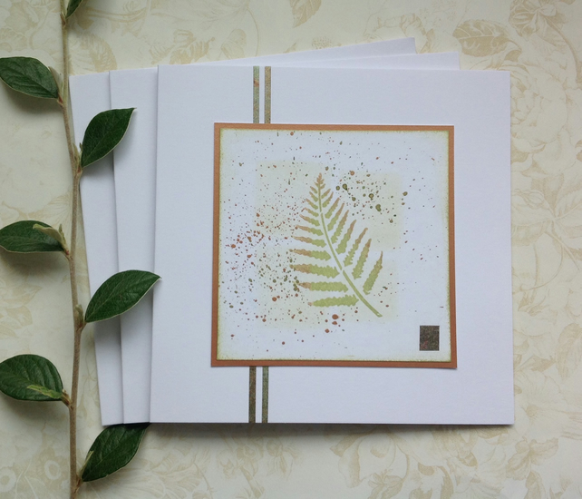 GREETINGS cards, notecards , ( pack of 3) ' English Fern 2'.