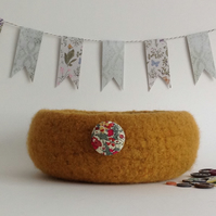 FELTED 'FUSSPOT' BOWL, desk tidy .'  Amber Glow ' ( with Liberty fabric button).
