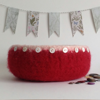 FELTED 'FUSSPOT'  BOWL ,desk tidy . 'Ruby Glow' (with MOP buttons).'