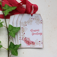 CHRISTMAS GIFT tags ( set of 4) .Winter ' Rosehips '.Wreath.Poinsettia. Nature .