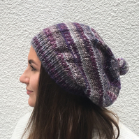 SLOUCH BEANIE , hat.. Wool blend . 'Highland Heather' purple.
