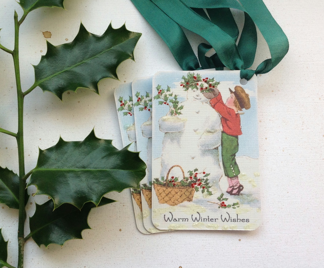 GIFT TAGS , Christmas, Winter ( set of 3) Vintage-style  . Snowman. Holly.