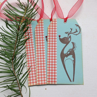 CHRISTMAS GIFT tags ( set of 3) .Winter . Deer. Retro .Kitsch.