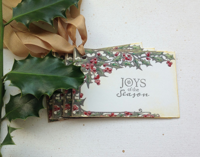 CHRISTMAS GIFT tags ( set of 4) .Winter .Holly  Nature .