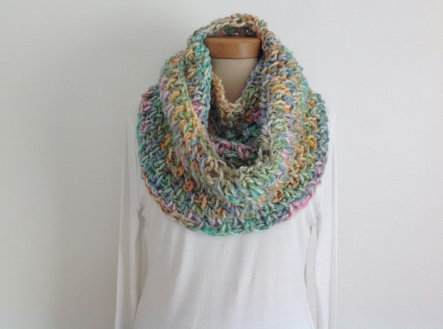 INFINITY SCARF , cowl . Alpaca blend. Chunky . Super-soft. ' Sherbet Pips'.