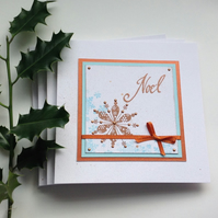 CHRISTMAS  CARDS ( pack of 4 ) 'Noel'. Snowflakes. Copper, blue.