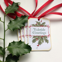 CHRISTMAS GIFT tags ( set of 4) .Winter .Holly . Traditional. Yuletide Greetings