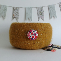 FELTED 'FUSSPOT' BOWL, desk tidy .'  Amber Tweed ' (with Liberty fabric button).
