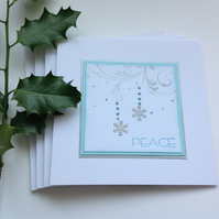 CHRISTMAS CARDS. Scandi-style. ( pack of 4) Snowflake.Peace. Aqua.