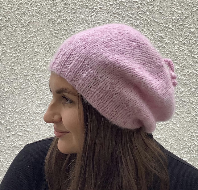 SLOUCH BEANIE , hat.. Luxurious baby alpaca , merino blend . ' Blush' . Pink .