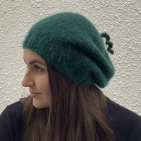 SLOUCH BEANIE , hat.. Luxurious baby alpaca , merino blend . ' Holly Leaf'