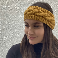 EARWARMERS, headband . Alpaca, wool blend. Supersoft ' Harvest '. Gold.