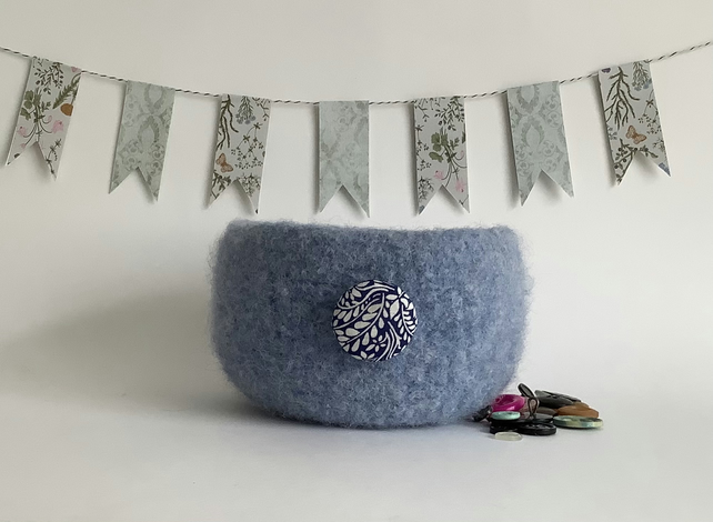 FELTED 'FUSSPOT' BOWL, desk tidy .' Honolulu' ' ( with Liberty fabric button).