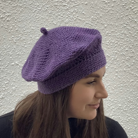 BERET , TAM . Purple . 'La Cite '  Alpaca , wool blend .