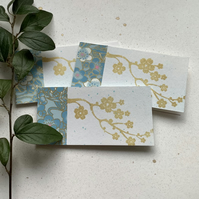 GIFT TAGS, ( set of 3 )  ' Blossoms ' . Flowers. Spring. Blue, gold.
