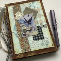 NOTEBOOK, journal, sketchbook , A5  ' Swallows'  Mixed media . OOAK .