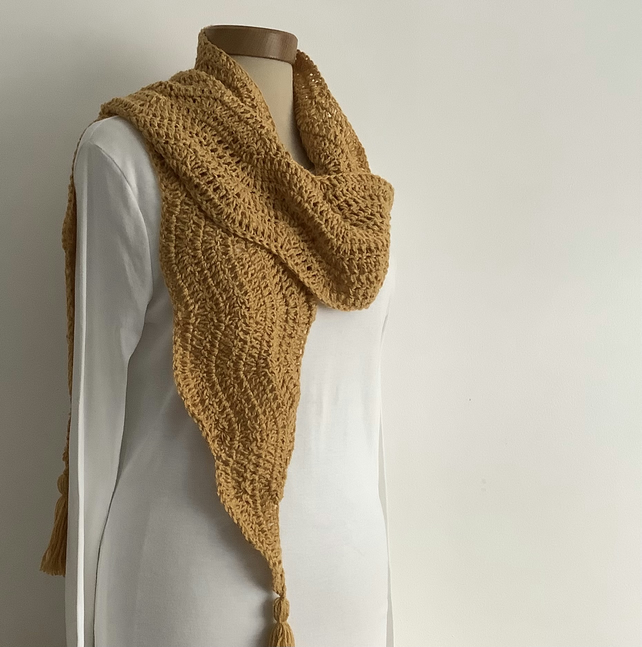 COTTON blend scarf. Soft , lightweight , all-seasons 'Saffron' . Mustard ,Ochre.