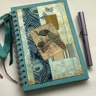 NOTEBOOK, journal, sketchbook , A5  ' Proud Peacock ' . Mixed media . OOAK .