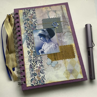 NOTEBOOK, journal, ( lined ) , A5  ' Fair Maiden ' . Purple . French theme .