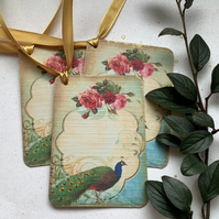 GIFT TAGS, vintage -style. ' The Peacock '  ( set of 3) Rose ..ready to ship...