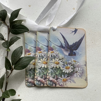 GIFT TAGS, Vintage -style.   ( set of 3 ) 'Bluebirds ' .Daisies . Summer.
