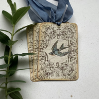 GIFT TAGS, Vintage -style. ( set of 3) ' Bird in Flight'..ready to ship...