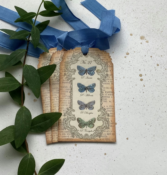 GIFT TAGS. Vintage -style ' Butterfly Specimens '( set of 3)  ..ready to ship...