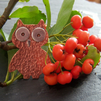 Wonky owl brooch in copper and sterling silver