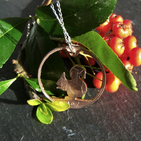 Squirrel Pendant recycled from bronze penny coin