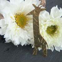 Giraffe brooch in etched brass