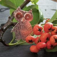 Owl brooch in sterling silver and copper