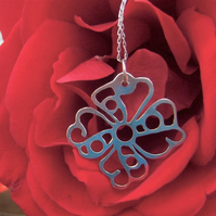 Filigree flower pendant in sterling silver