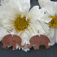 Elephant earrings in copper