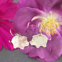 Pig earrings in sterling silver