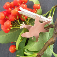 Possum brooch in copper and sterling silver