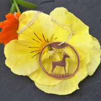 Hound dog pendant recycled from bronze penny coin